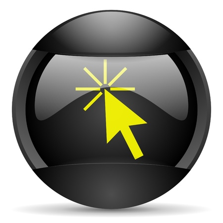 click here round black web icon on white background photo