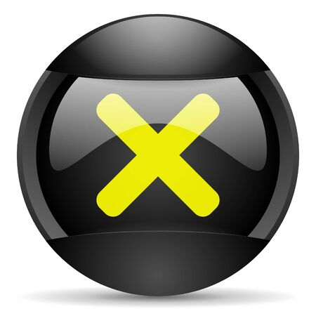 cancel round black web icon on white background photo