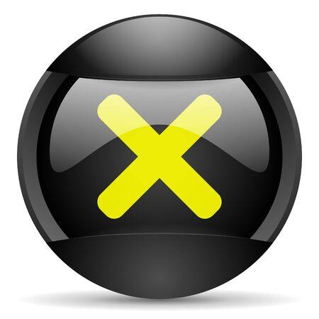 cancel round black web icon on white background Stock Photo - 16339681