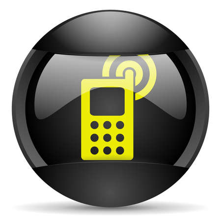 cellphone round black web icon on white background Stock Photo - 16339873