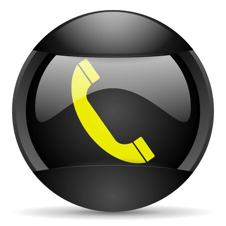 telephone round black web icon on white background Stock Photo - 16339701