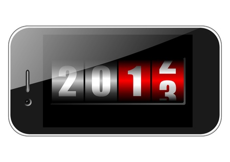 2013 new years illustration with mobile phone and counter illustration