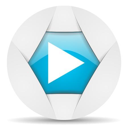 play round blue web icon on white background photo