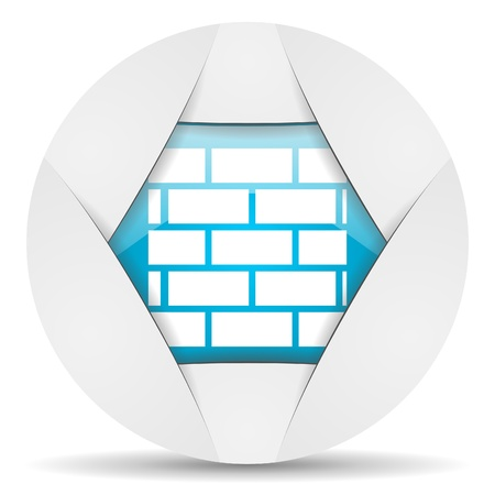 firewall round blue web icon on white background photo