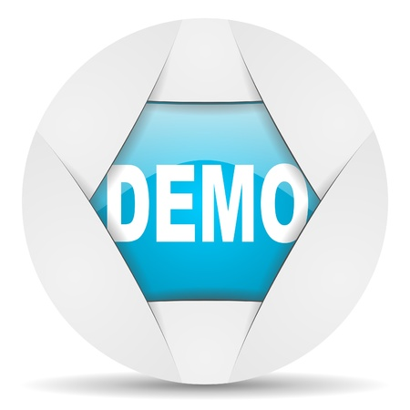 demo round blue web icon on white background photo