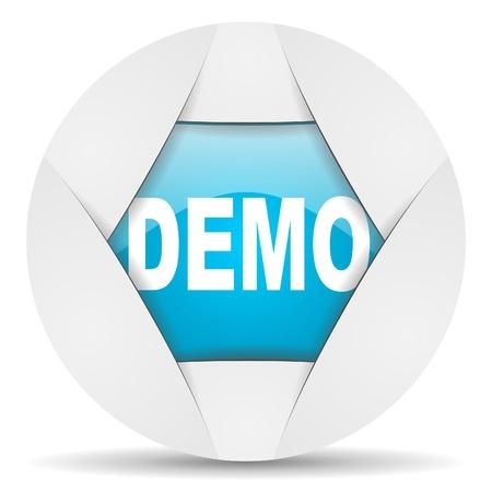 demo round blue web icon on white background Stock Photo - 16340330