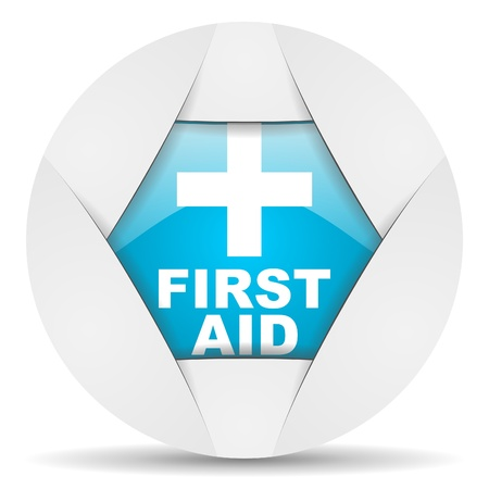 first aid round blue web icon on white background