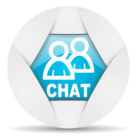 chat round blue web icon on white background Stock Photo - 16340698
