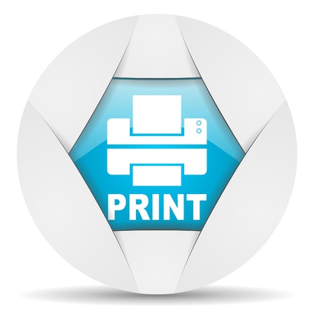print round blue web icon on white background photo