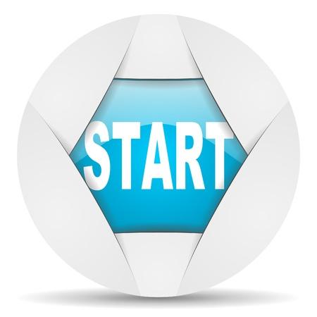 start round blue web icon on white background photo