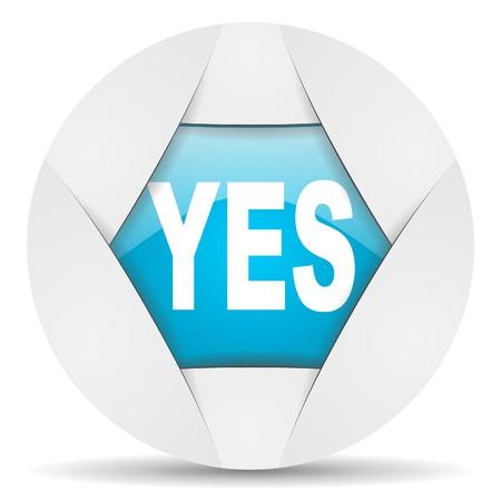 yes round blue web icon on white background Stock Photo - 16340235