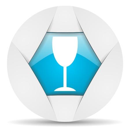 glass round blue web icon on white background Stock Photo - 16340081