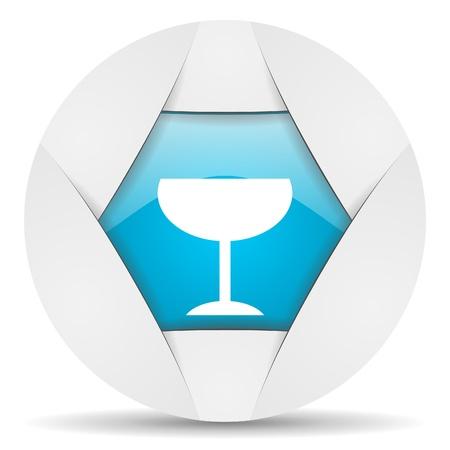 glass round blue web icon on white background Stock Photo - 16340086