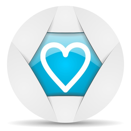 heart round blue web icon on white background photo