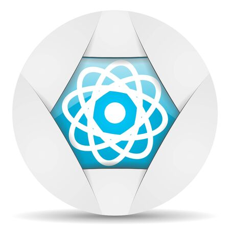 atom round blue web icon on white background Stock Photo - 16340708