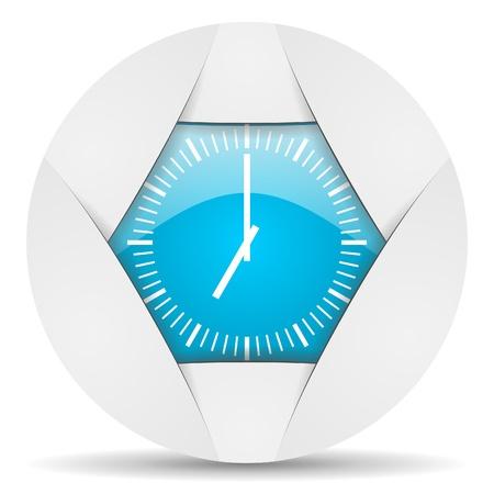 clock round blue web icon on white background photo