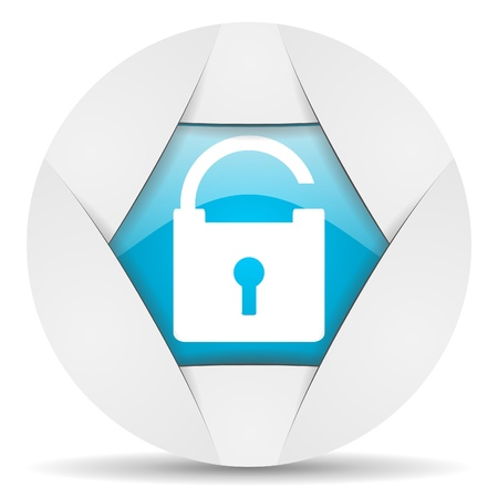 padlock round blue web icon on white background Stock Photo - 16340096