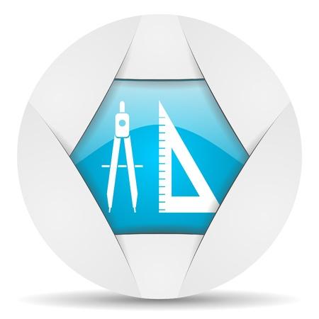 e-learning round blue web icon on white background Stock Photo - 16340437