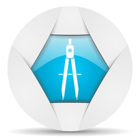 e-learning round blue web icon on white background Stock Photo - 16340225