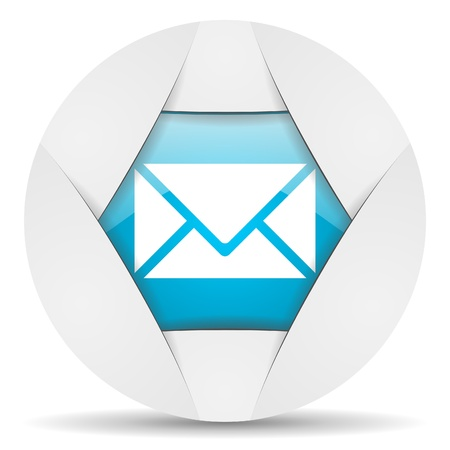 mail round blue web icon on white background Stock Photo - 16340229
