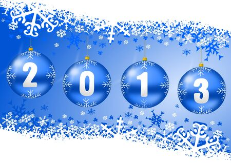 2013 new years illustration with christmas balls and snowflakes on blue background illustration