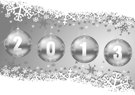 2013 new years decoration with christmas balls and snowflakes photo