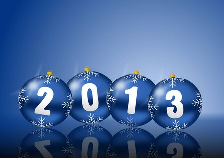 2013 new years illustration with christmas balls on blue background illustration