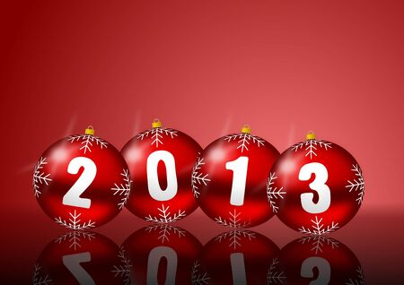 2013 new years illustration with christmas balls on red background illustration