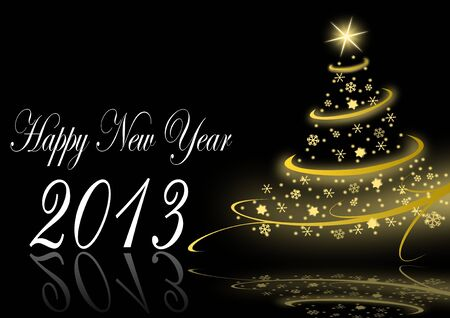 2013 new years illustration with christmas tree and snowflakes on black background illustration