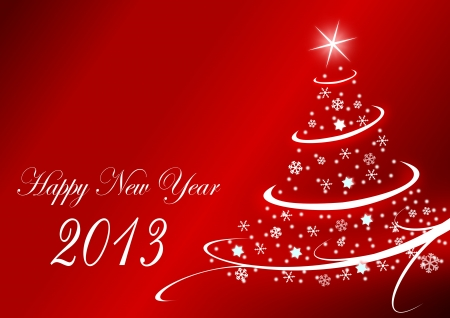2013 new years illustration with christmas tree and snowflakes on red background Stock Illustration - 16505953