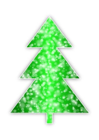 christmas tree with snowflakes on white background Stock Photo