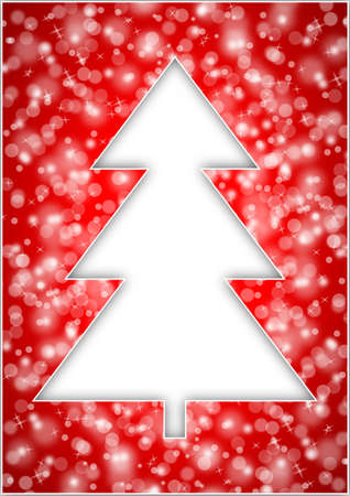 christmas tree with snowflakes on red background photo