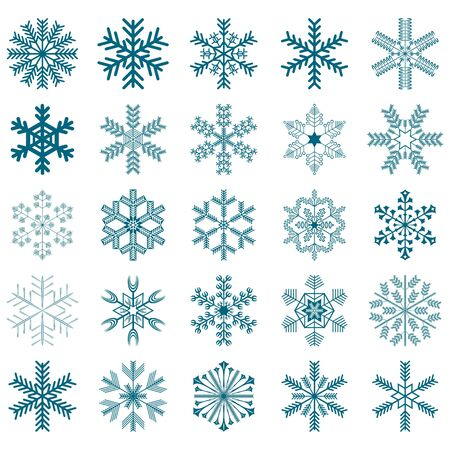 collection of 25 snowflakes isolated on white background photo