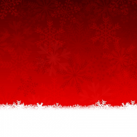 red christmas card with snowflakes Stock Photo