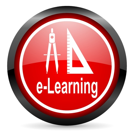 e-learning round red glossy icon on white background Stock Photo - 16506265