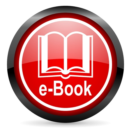 e-book round red glossy icon on white background photo