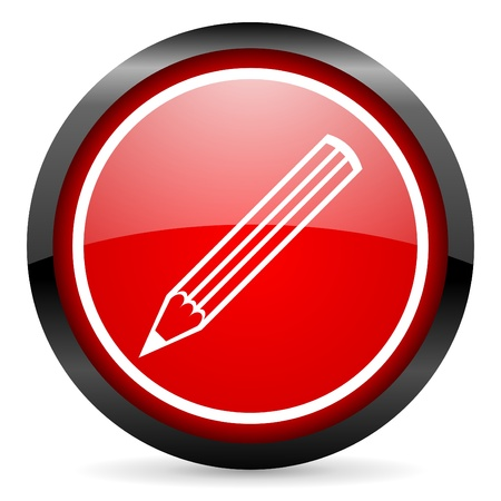 pencil round red glossy icon on white background Stock Photo - 16506269