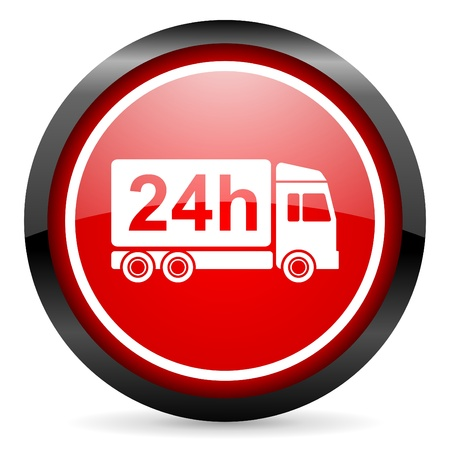 delivery 24h round red glossy icon on white background photo