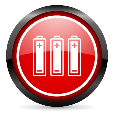 batteries round red glossy icon on white background photo