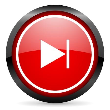 next round red glossy icon on white background Stock Photo - 16505987