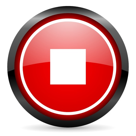 stop round red glossy icon on white background Stock Photo - 16505946
