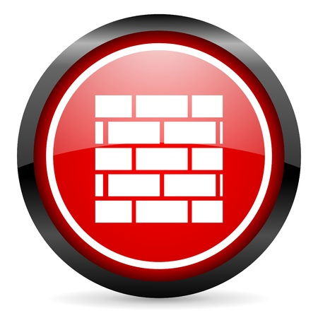 firewall round red glossy icon on white background Stock Photo - 16506071