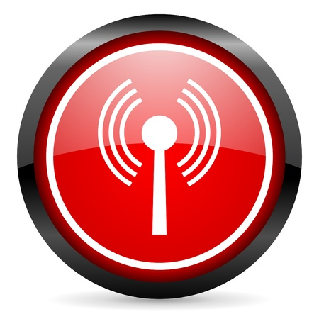 wifi round red glossy icon on white background photo