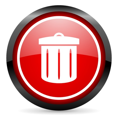 recycle round red glossy icon on white background Stock Photo - 16506037
