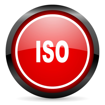 iso round red glossy icon on white background photo
