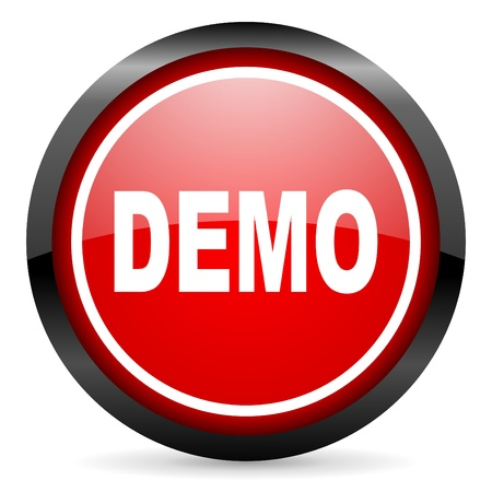 demo round red glossy icon on white background Stock Photo - 16506079