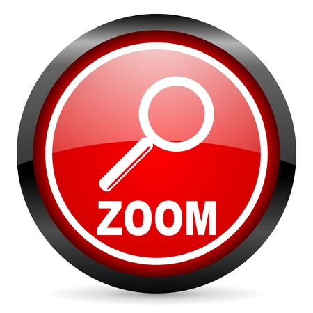 zoom round red glossy icon on white background Stock Photo - 16506278