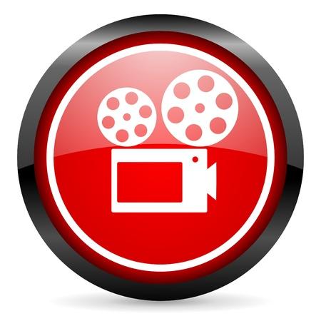 cinema round red glossy icon on white background photo