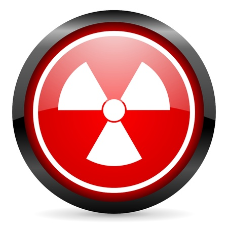 radiation round red glossy icon on white background Stock Photo - 16506013