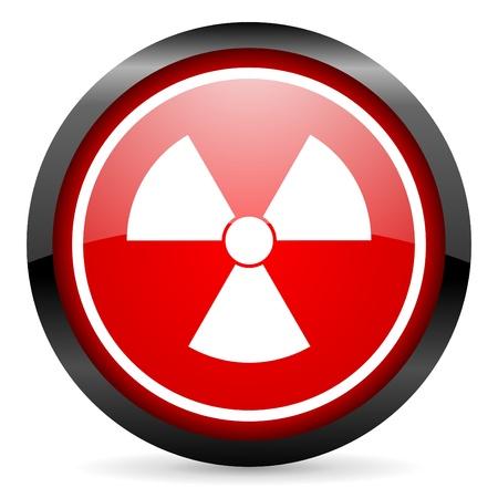 radiation round red glossy icon on white background Stock Photo - 16506013